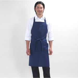 メンズ胸当付レギュラー丈エプロン(撥水油・防汚・制電・E100%)[ネイビー]